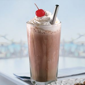 """8"""" wide stainless steel straw in chocolate shake"""