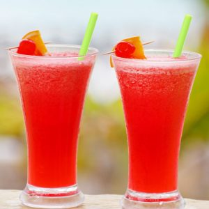 """9.75"""" silicon straw in red drink"""
