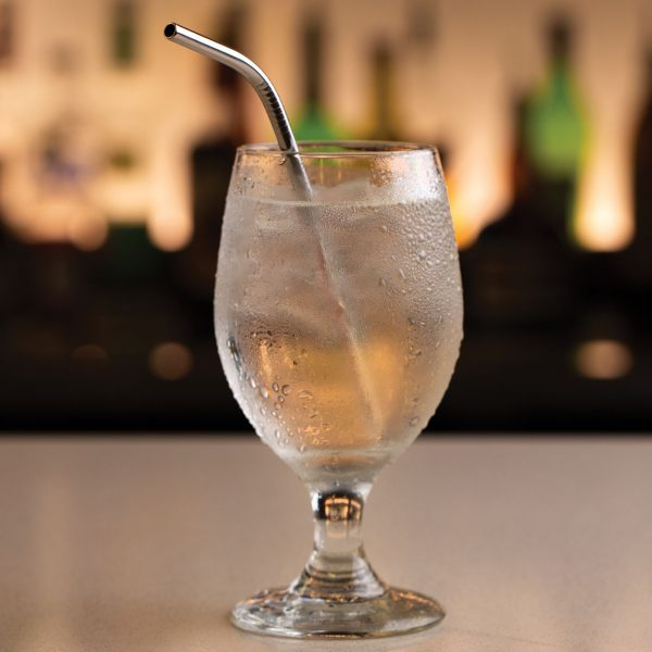 "5.75"" stainless steel straw in tonic water"